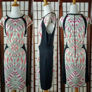 EUC MAGGY LONDON GEOMETRIC LINED SHEATH DRESS